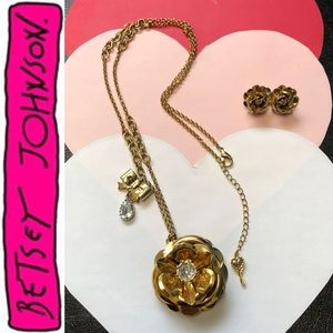 $42⬇️SET Necklace Earring Long Flower Gold Diamond